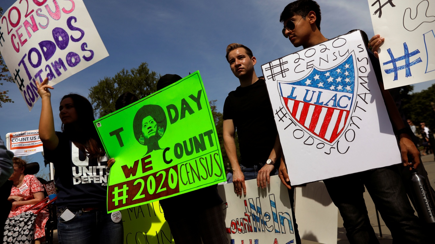 Demonstrators gather outside the U.S. Supreme Courthouse in Washington, U.S., April 23, 2019.