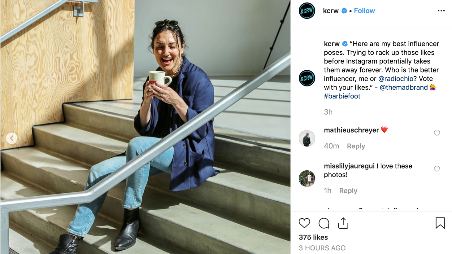 KCRW Press Play's Madeleine Brand goes head to head with Steve Chiotakis in taking the best Instagram influencer pics.