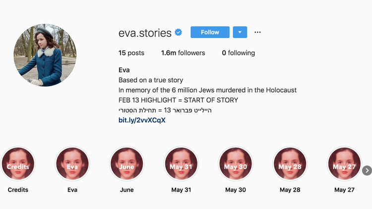 Through Instagram stories, one Israeli tech executive and his daughter are trying to show the life of a young Jewish girl during the Holocaust.