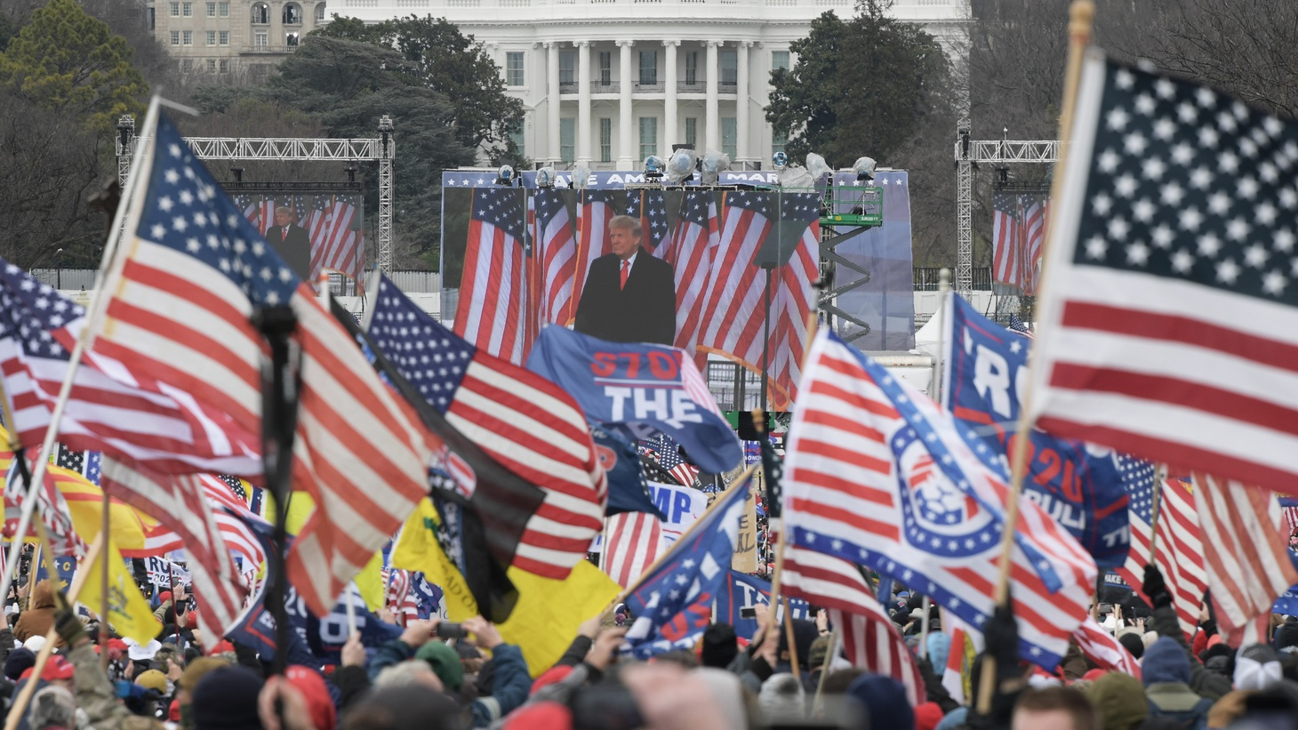 President Donald Trump delivers remarks during a rally on January 06, 2021 at the White House in Washington DC, USA.