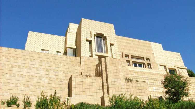 Frank Lloyd Wright's Ennis House -- made up of 27,000 beige textile blocks -- is perched high above the Hollywood Hills in Los Feliz.