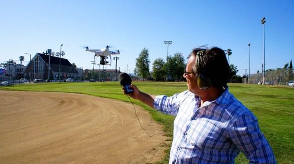 Saul Gonzalez records the sound of the Phantom 2 Quadcopter