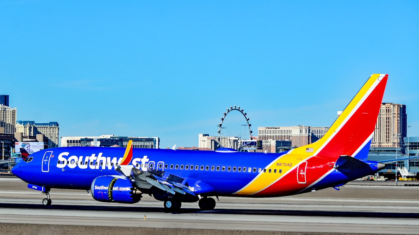 A Southwest Airlines Boeing 737 Max 8.