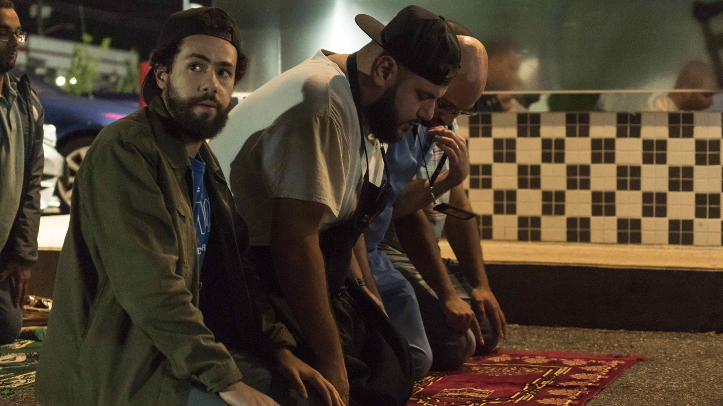 "A scene from episode 5, ""Do the Ramadan,"" of ""Ramy."" Shown: Ramy (Ramy Youssef), Mo (Mohammed Amer), and Ahmed (Dave Merheje), shown."