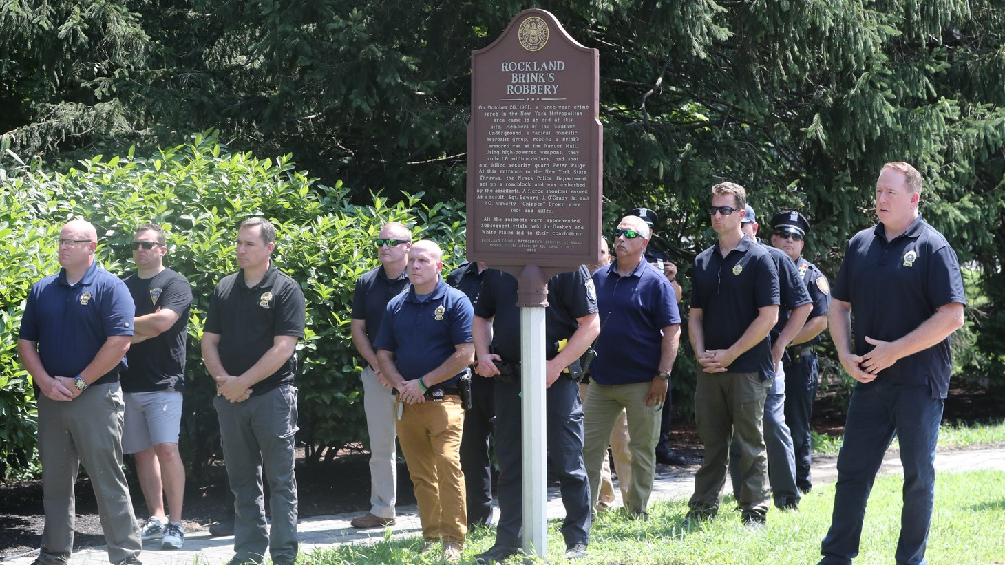 Members of the Rockland County PBA are at the Brinks Robbery Memorial during a press conference about Governor Cuomo commuting the prison sentence of David Gilbert, and making him eligible for early release by a parole board, Aug. 24, 2021.