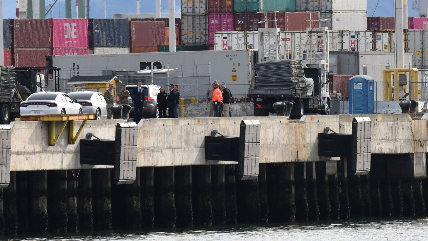 Governor Gavin Newsom inspects the location at the Port of Oakland, where the Grand Princess cruise ship carrying passengers who have tested positive for coronavirus is expected to dock. March 8, 2020.