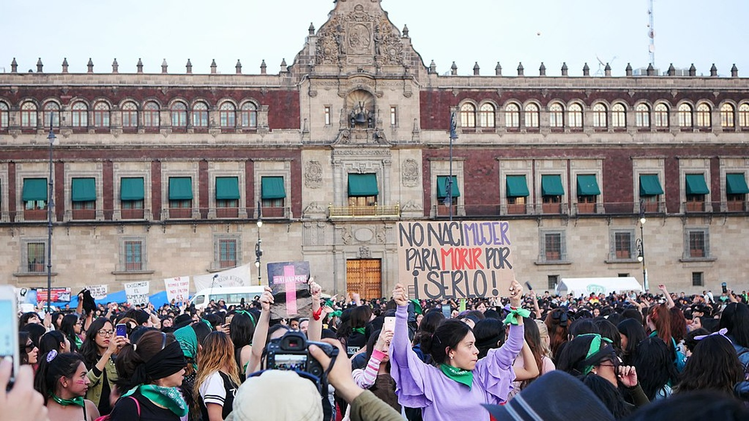 "Protesters at a femicide protest in Zocalo, Mexico City, 2019. The sign says ""No nací mujer para morir por serlo,"" meaning ""I was not born a woman to die for being it."""
