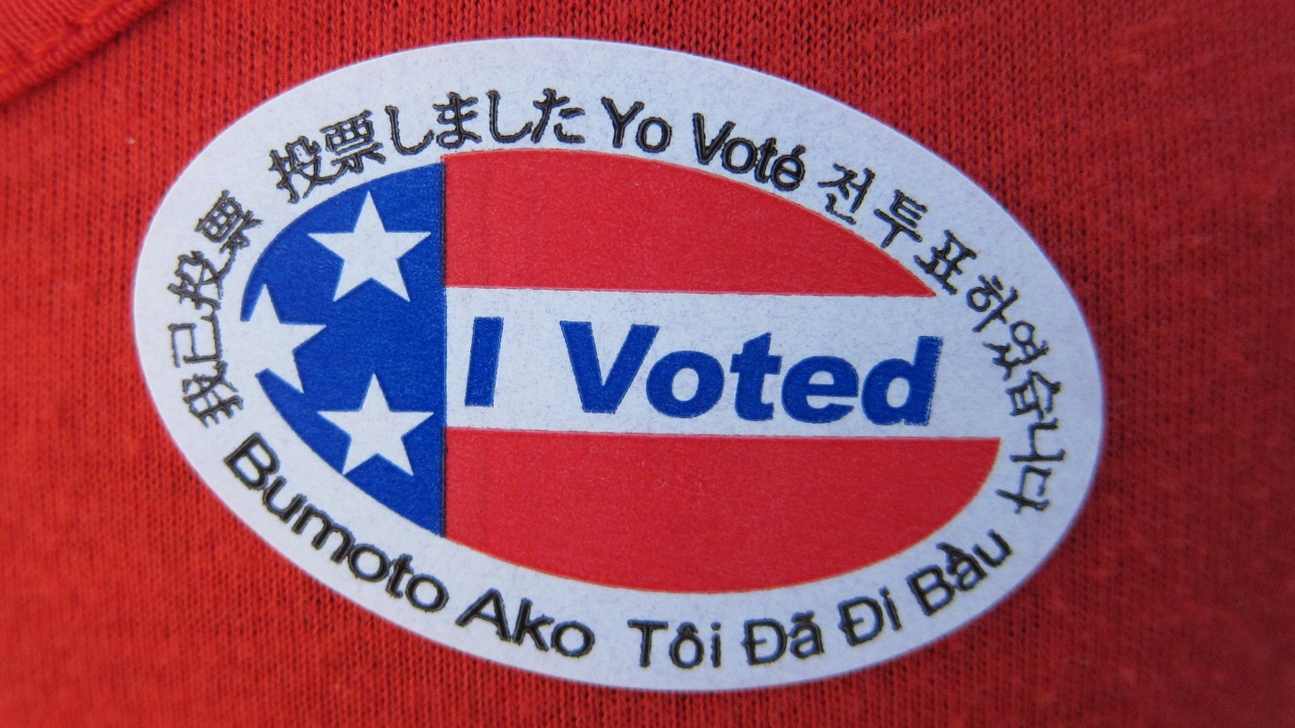 """I voted"" sticker with multiple languages."