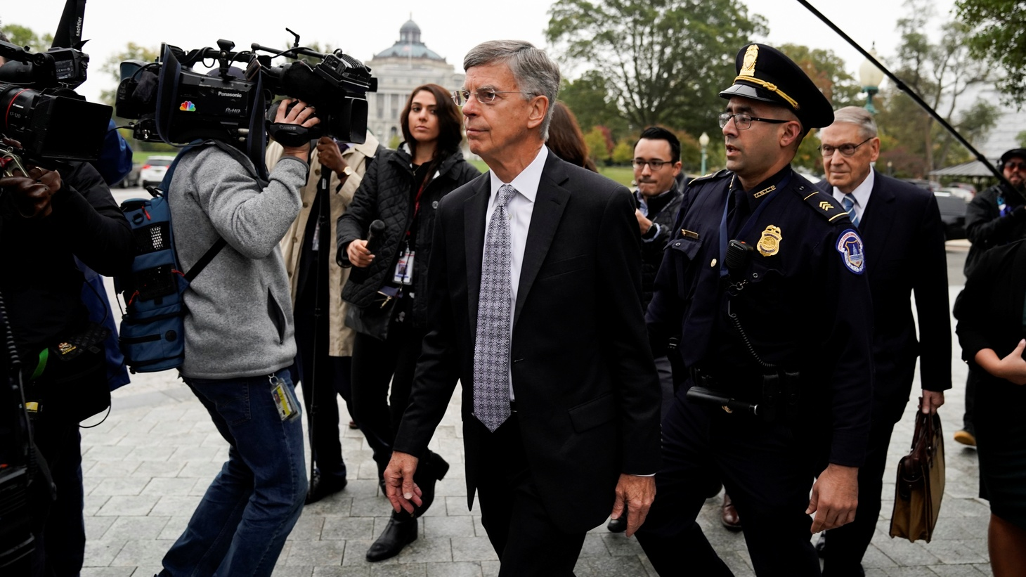 Acting U.S. ambassador to Ukraine Bill Taylor arrives to testify at a closed-door deposition as part of the U.S. House of Representatives impeachment inquiry led by the House Intelligence, House Foreign Affairs and House Oversight and Reform Committees on Capitol Hill in Washington, U.S., October 22, 2019.