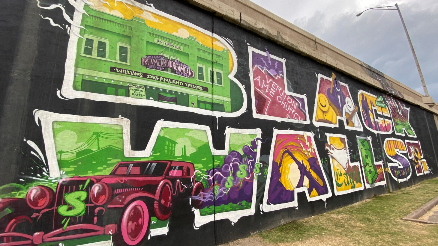 The Black Wall Street mural in the Greenwood District of Tulsa, Okla.