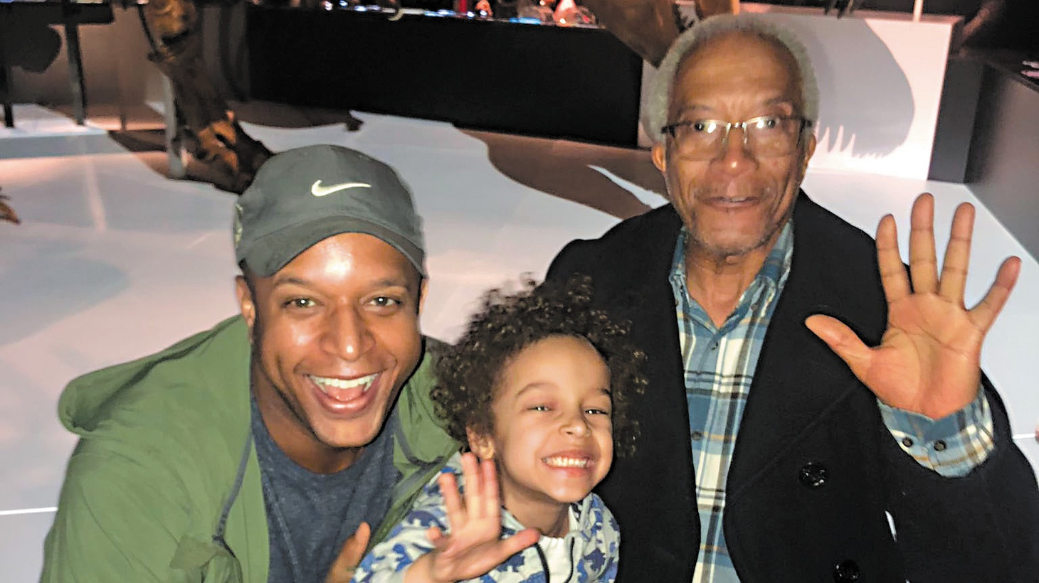 Craig Melvin and his father at the Museum of Natural History.