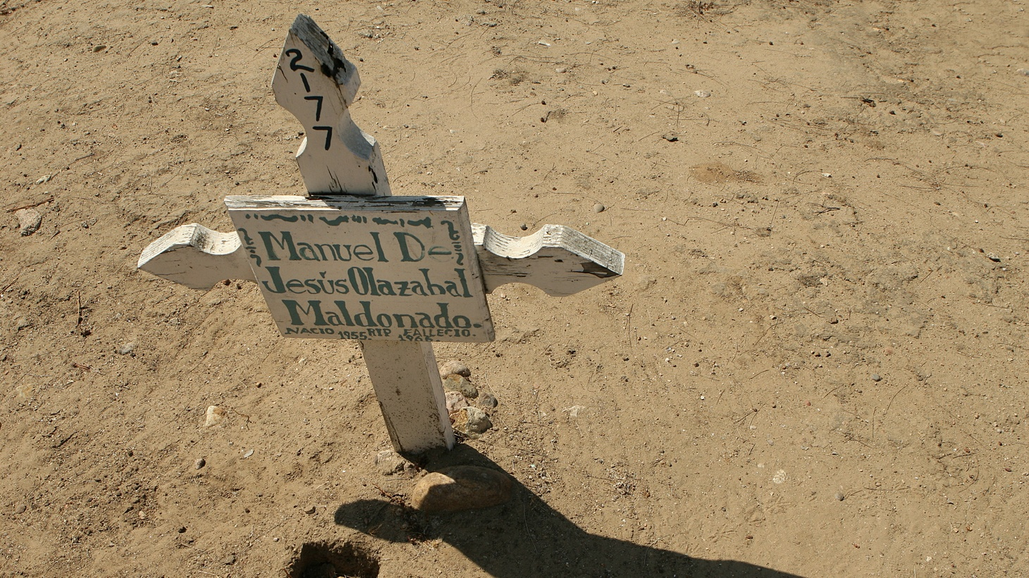 A lone grave marker at the Tijuana cemetery.