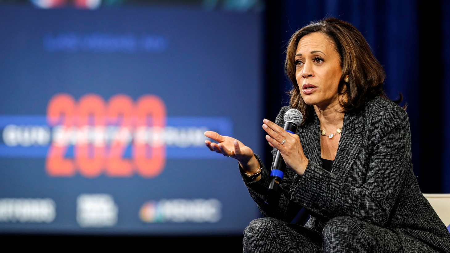 U.S. Democratic presidential candidate Sen. Kamala Harris (D-CA) responds to a question during a forum held by gun safety organizations the Giffords group and March For Our Lives in Las Vegas, Nevada, U.S. October 2, 2019.