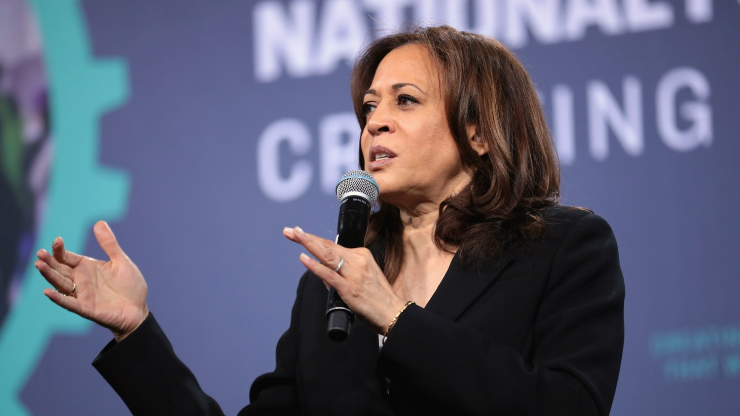 U.S. Senator Kamala Harris speaking at the 2019 National Forum on Wages and Working People, hosted by the Center for the American Progress Action Fund and the SEIU, at the Enclave in Las Vegas, Nevada.