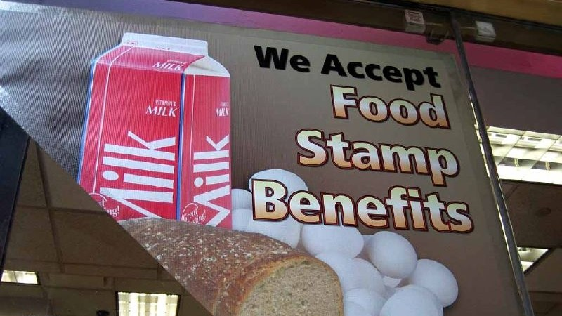 """We Accept Food Stamp Benefits"" sign."
