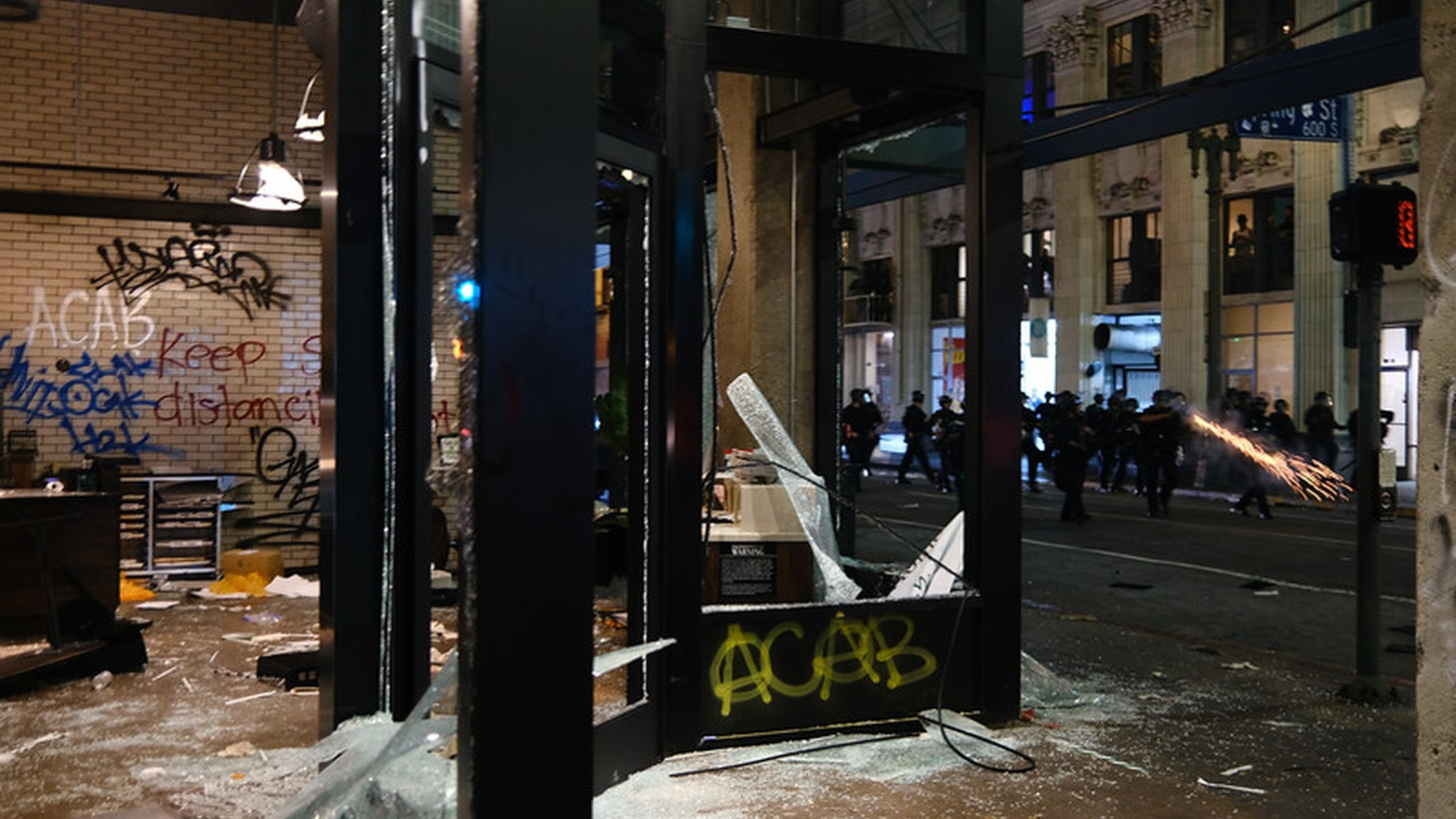 Broken storefronts in downtown Los Angeles after protests turned into looting May 29. Some of the White Supremacist groups involved in Charlottesville were also behind the violence in recent national protests.
