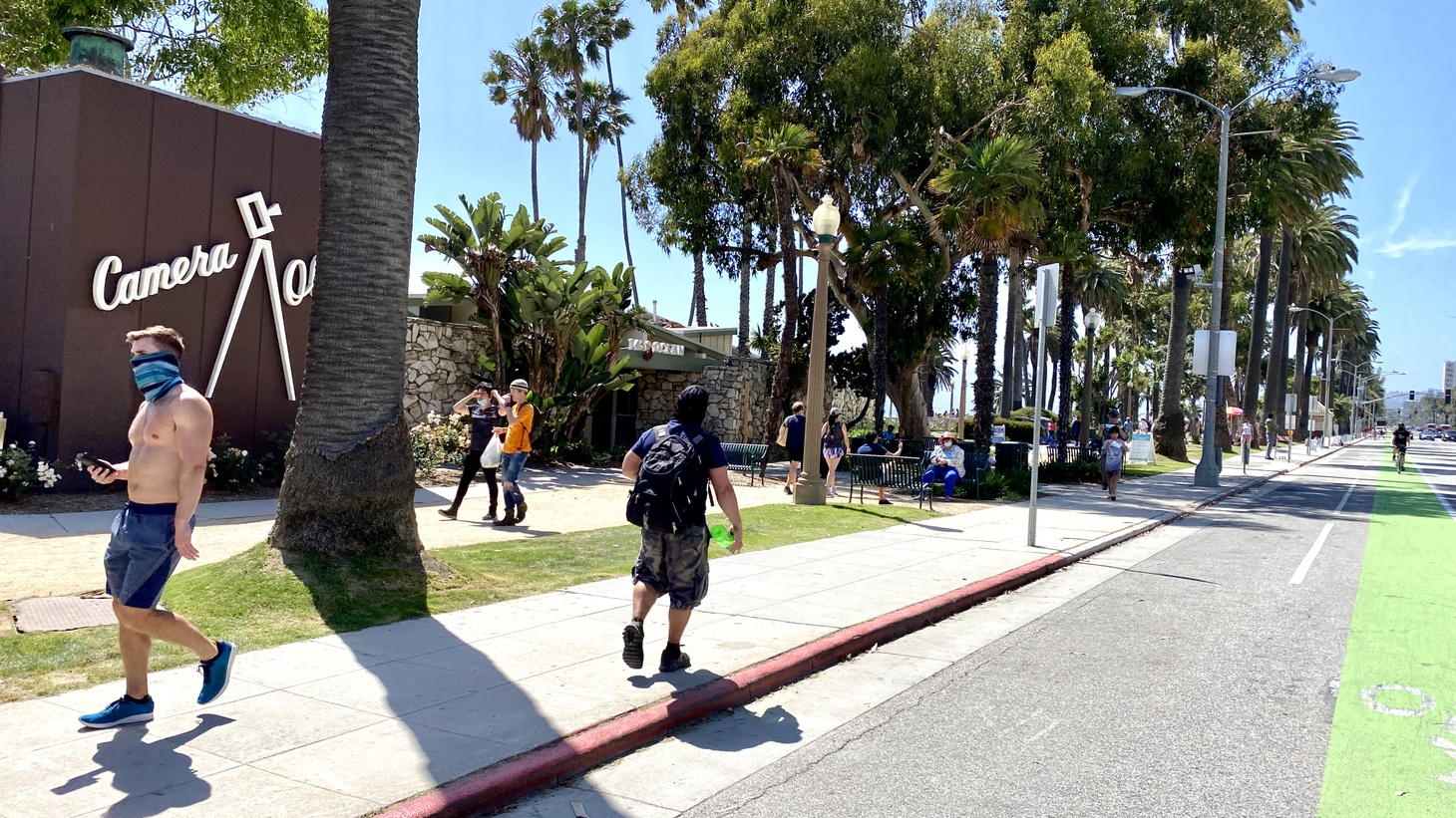 Palisades Park in Santa Monica is now open again. LA County is now allowing some in-store shopping and religious services to resume too.