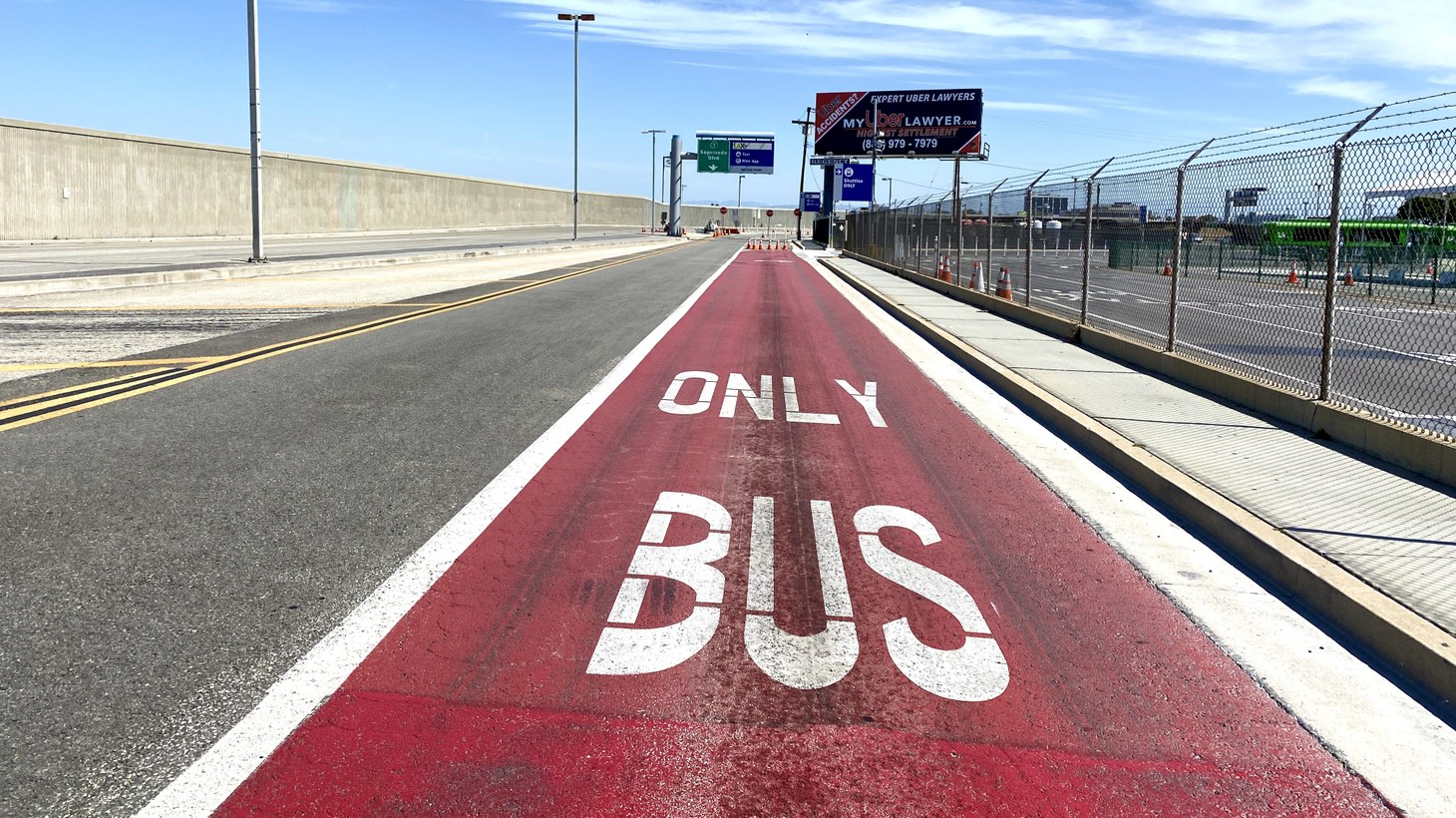 The bus lane at the empty LAX airport, May 14, 2020. Public transit ridership in LA has been down during the coronavirus pandemic. What will the future of public transportation look like?