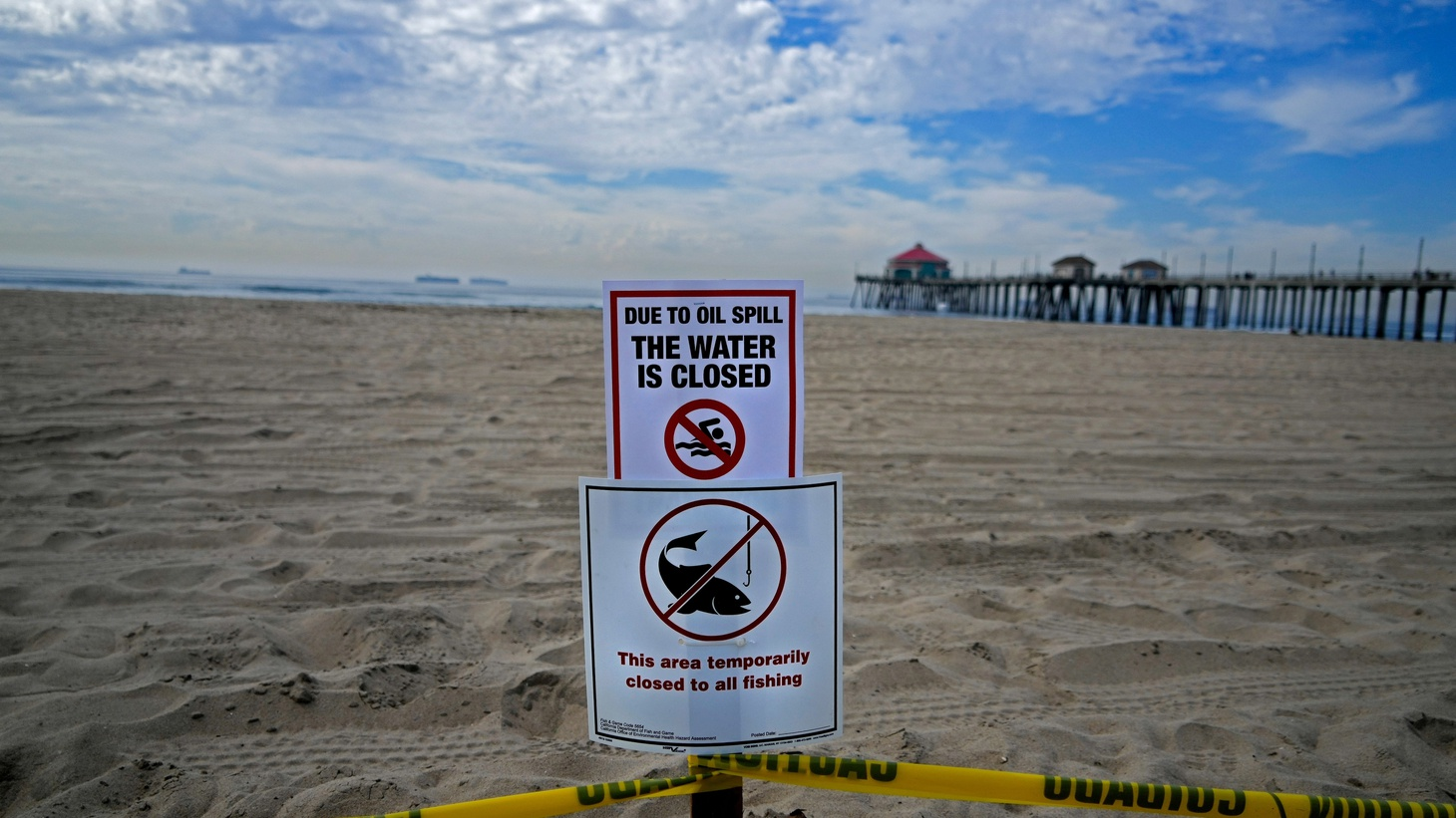 Huntington Beach reopened but the water remained closed on Oct. 4, 2021. More than 125,000 gallons of oil spilled from a pipeline about four miles offshore of Southern California's coast.