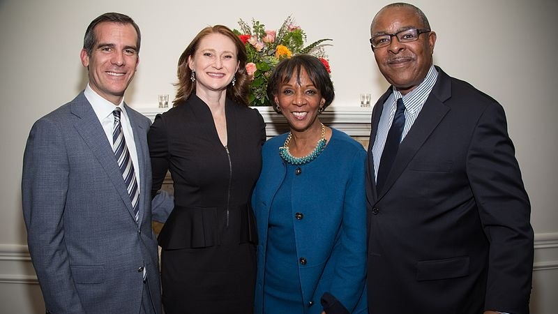 Mayor Garcetti, Amy Elaine Wakeland, Jackie Lacey, and David Lacey in 2015.