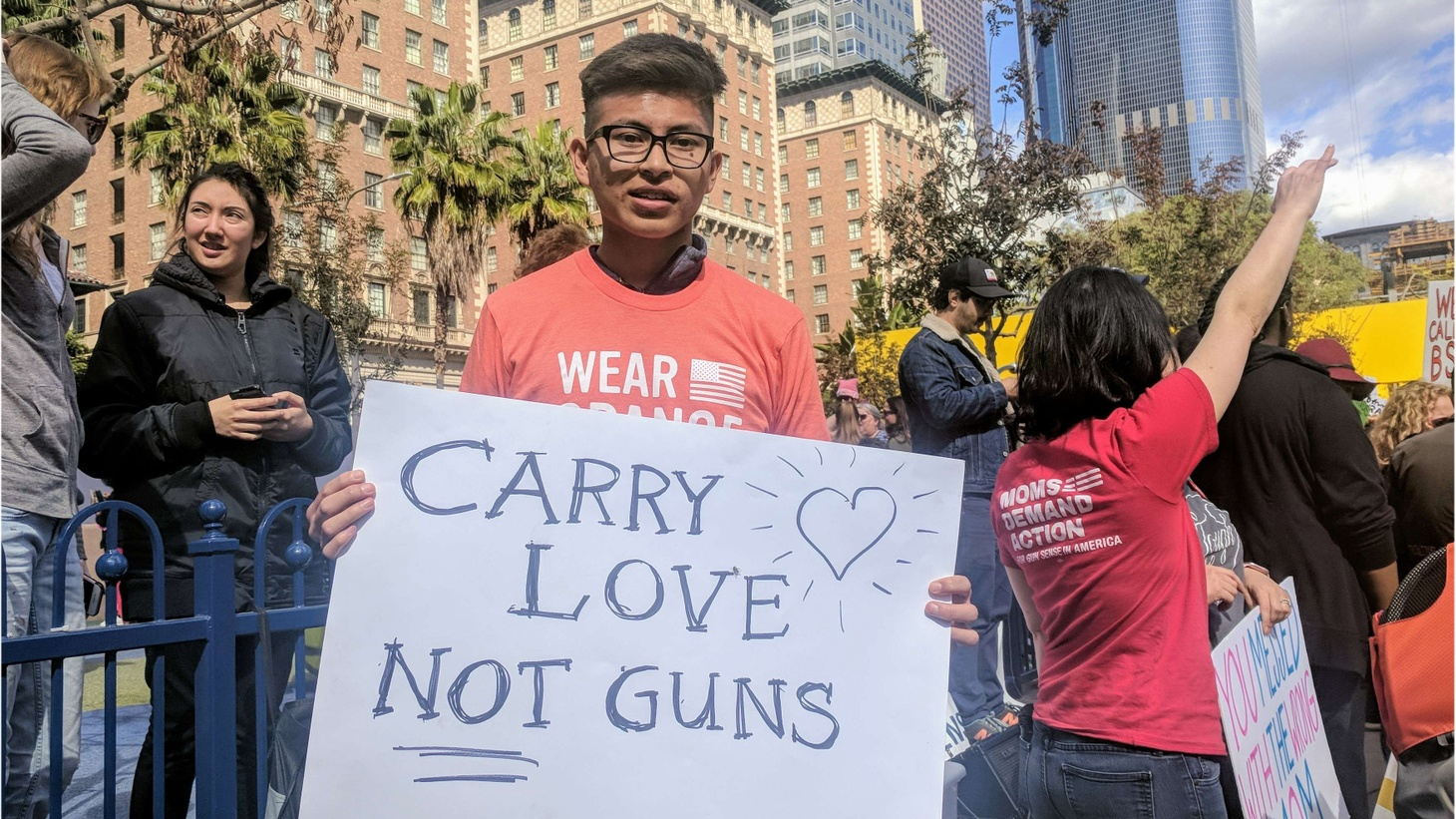 After the mass school shooting in Florida, many young people are taking action against guns. We talk about the growing protest movement with an 18-year-old activist in LA.