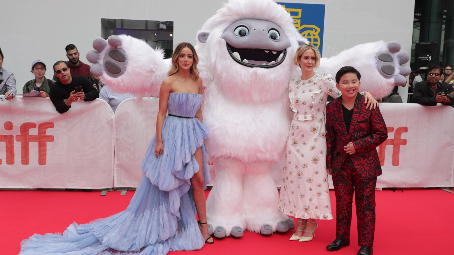 "Chloe Bennet, Frank Zhu, Jill Culton, and Peilin Chou at the world premiere of ""Abominable."""