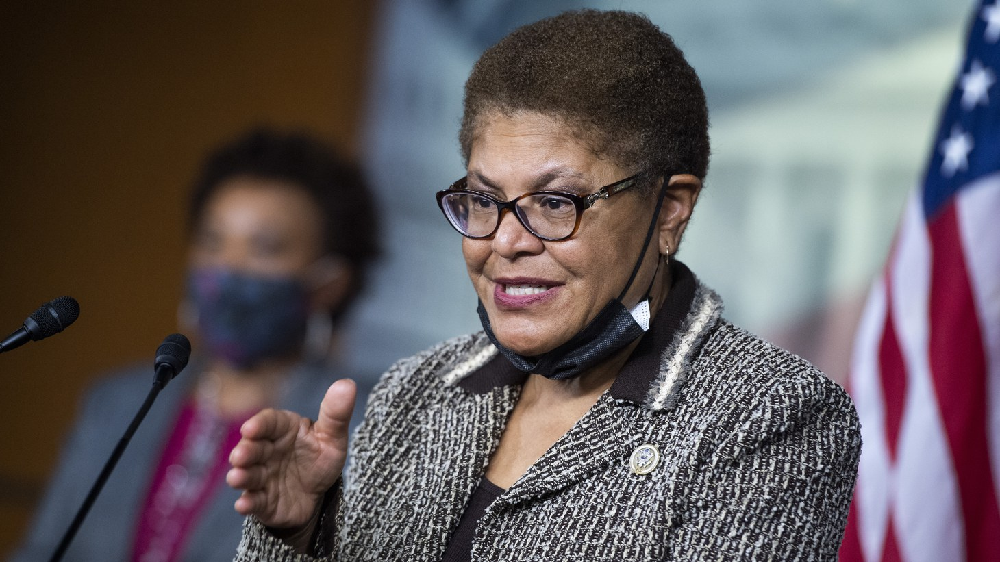 Rep. Karen Bass, D-Calif., chair of the Congressional Black Caucus, and Rep. Barbara Lee, D-Calif., left, conduct a news conference on the Jobs and Justice Act of 2020, which aims to increase the upward social mobility of Black families and help ensure equal protection under the law, in the Capitol Visitor Center on Wednesday, September 23, 2020.
