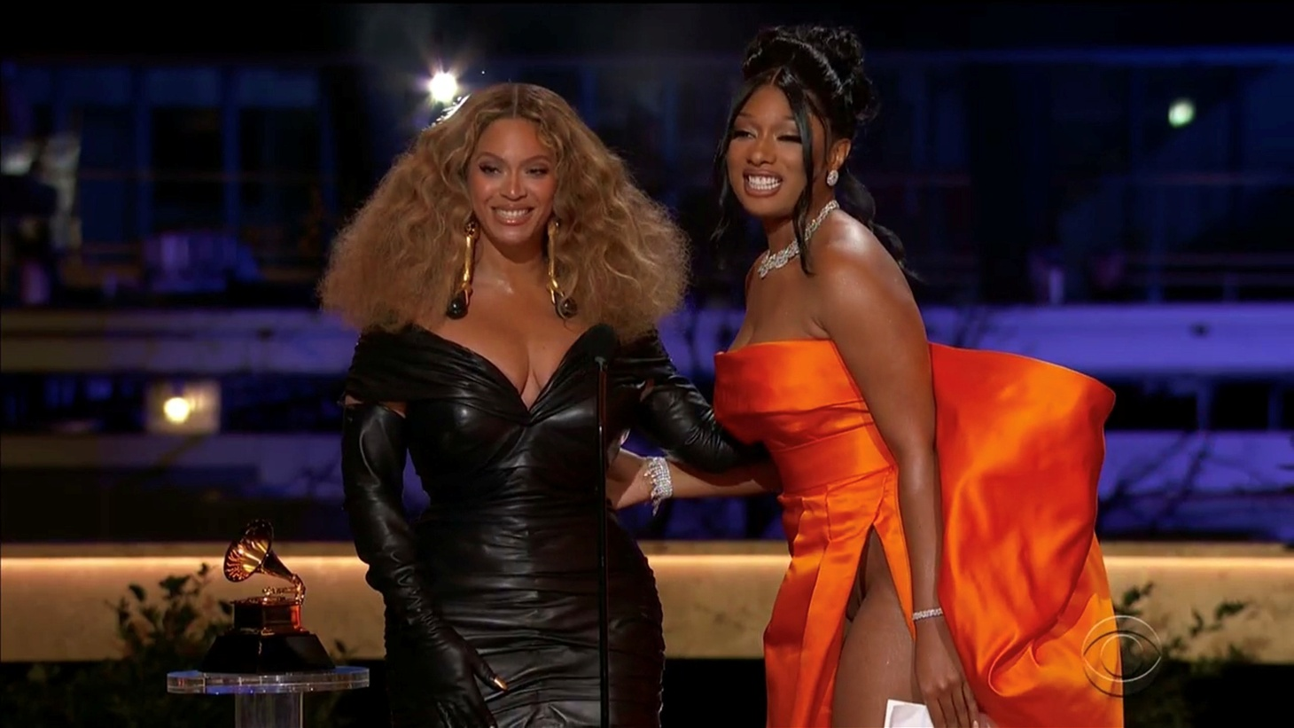 """Beyoncé and Megan Thee Stallion win the Grammy for Best Rap Performance for """"Savage"""" in this screen grab taken from video of the 63rd Annual Grammy Awards in Los Angeles, California, U.S., March 14, 2021."""