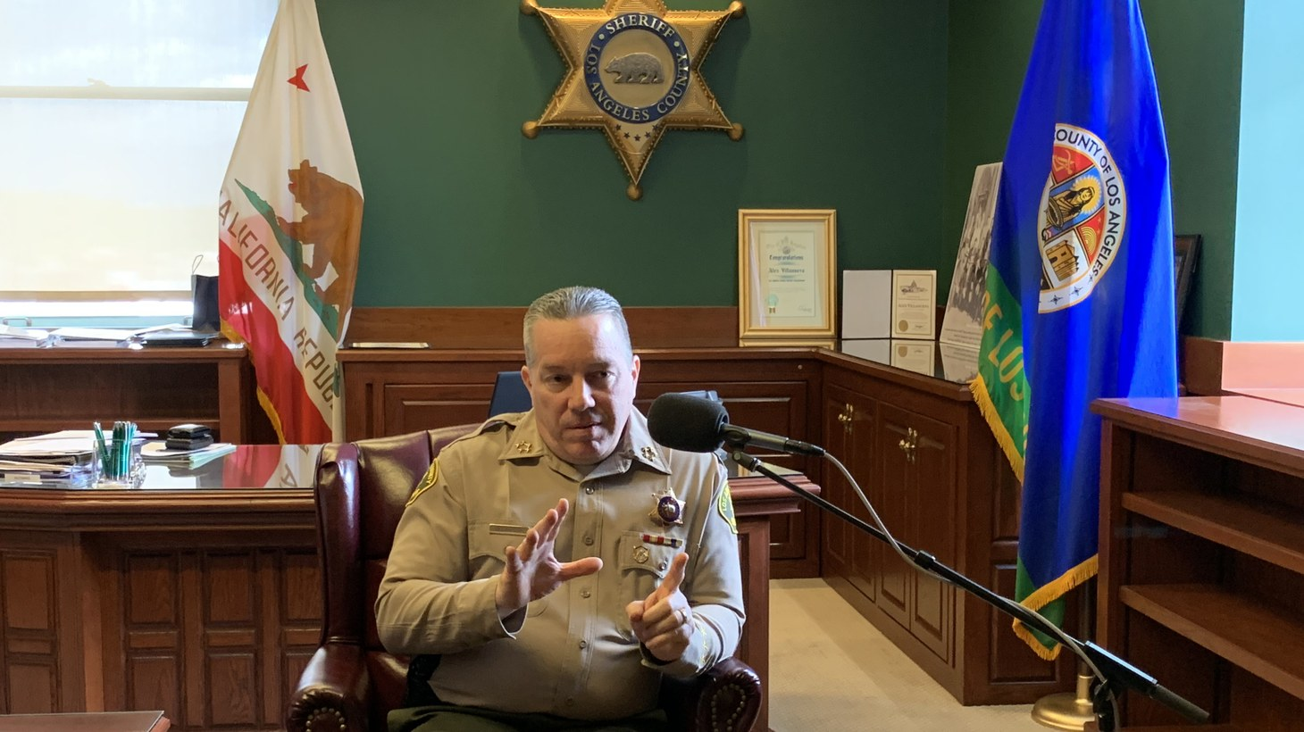 Sheriff Villanueva in an interview with KCRW at his office at the Hall of Justice in downtown Los Angeles, on March 21, 2019.