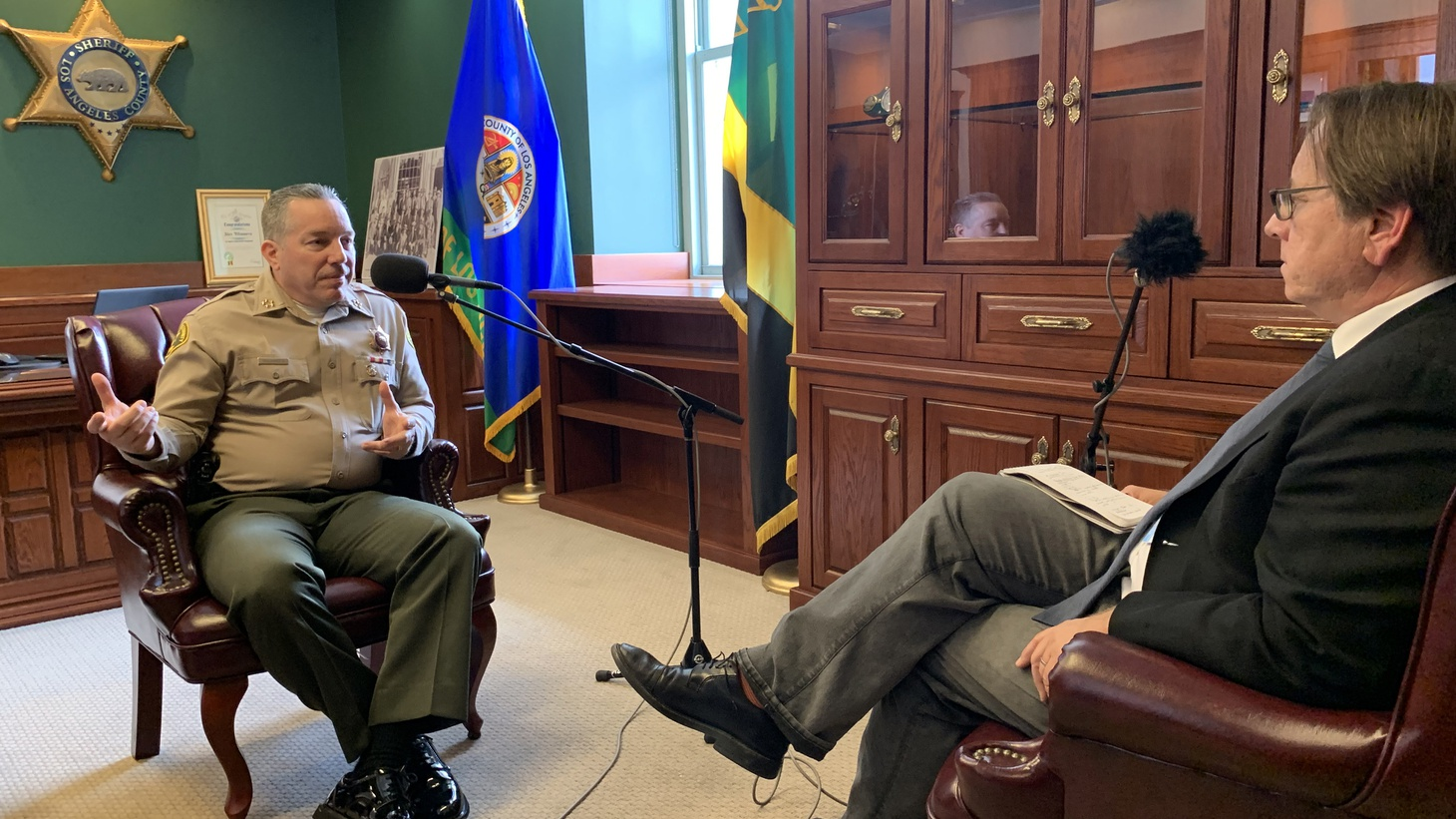 Sheriff Alex Villanueva in an interview with KCRW at his office at the Hall of Justice in downtown Los Angeles, on March 21, 2019.