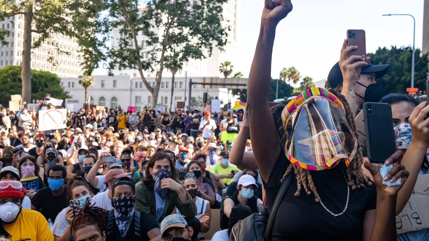 Black Lives Matter LA organized a rally in front of the LA County Hall of Justice to protest District Attorney Jackie Lacey. About 100,000 people came out — many wearing face masks — to protest police violence, the proposed LA city budget of 54% to the LAPD, and the death of George Floyd. June 3, 2020.