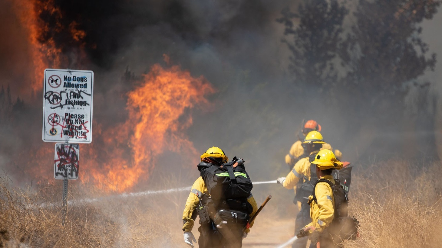 More than 100 firefighters battle the intensely hot weather to extinguish the fire in the Sepulveda Basin in California, United States on September 7, 2020.