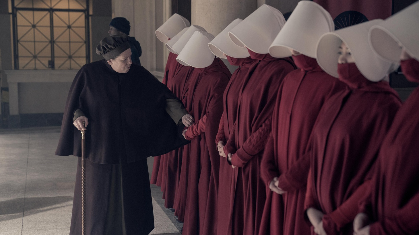 """""""The Handmaid's Tale"""" episode 306: June accompanies the Waterfords to Washington D.C., where a powerful family offers a glimpse of the future of Gilead. June makes an important connection as she attempts to protect Nichole. Aunt Lydia (Ann Dowd), shown."""