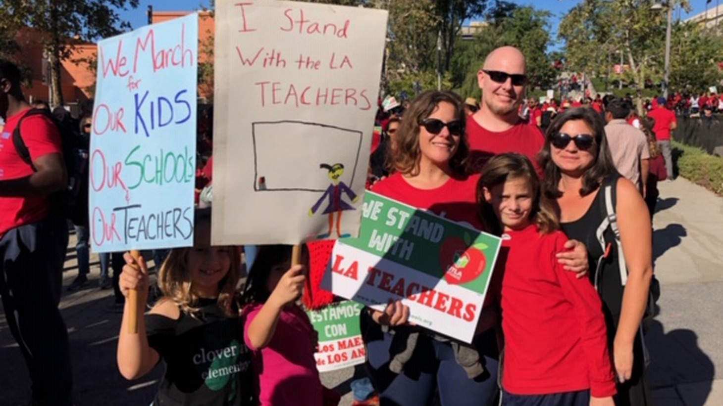 "Parents and students at Clover Avenue Elementary march to support the LAUSD teachers, and to shed light on the ""charter issue we have here in LA."""