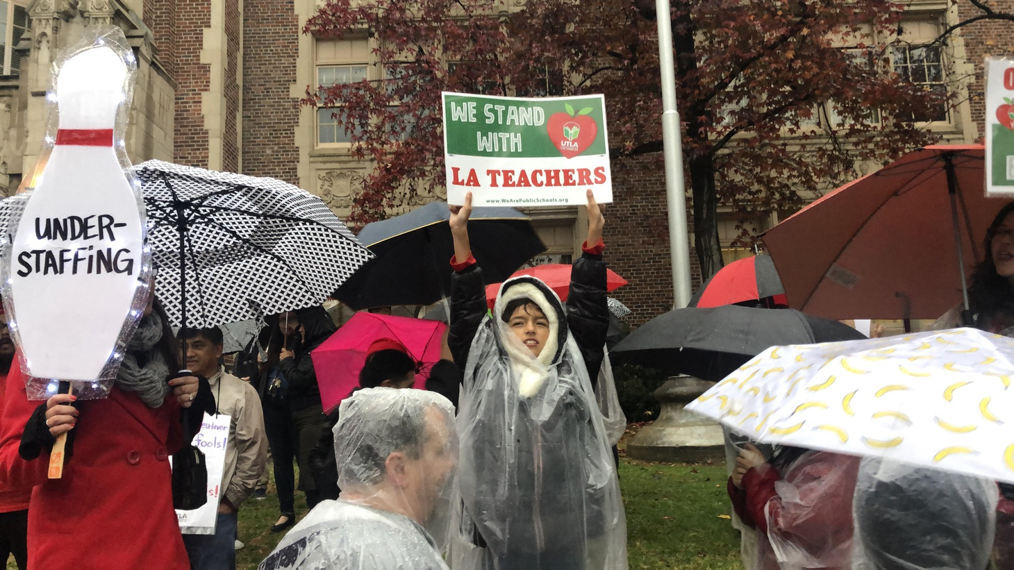 On Monday, LAUSD teachers picketed at schools around the city.
