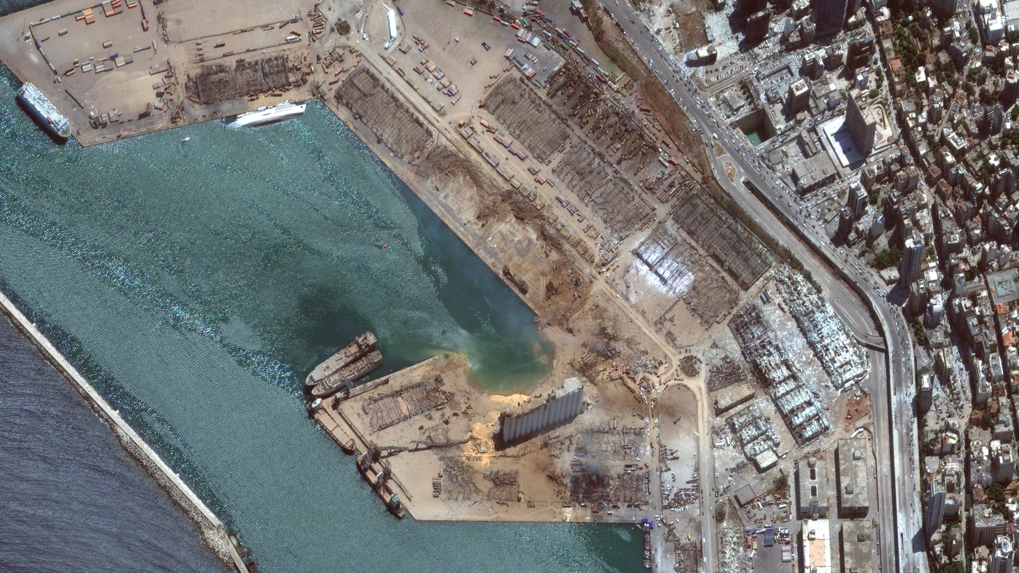 A satellite image shows the port of Beirut after an explosion, Lebanon, August 5, 2020.