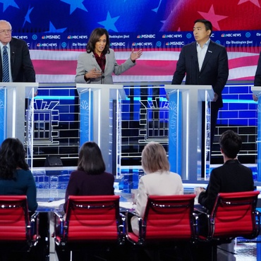 Last night, the top 10 Democratic candidates for president met in Atlanta for their fifth debate. Women outnumbered men on the stage, partly because all the moderators were women.