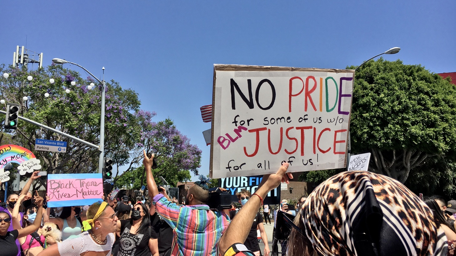 The All Black Lives Matter march in LA on June 14 denounced racial injustice and pushed for LGBTQ rights.
