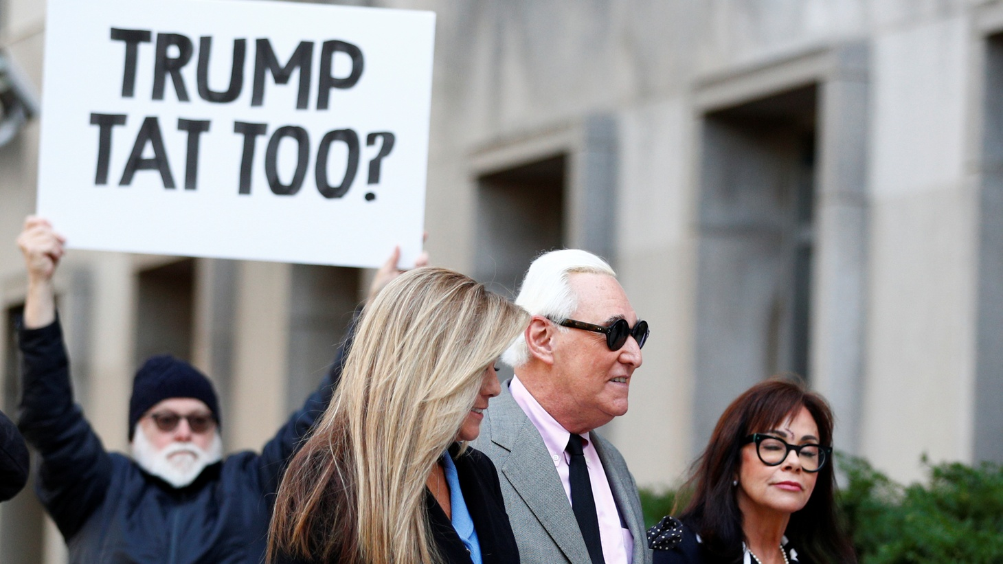 Roger Stone, former campaign adviser to U.S. President Donald Trump, arrives for the start of his criminal trial on charges of lying to Congress, obstructing justice and witness tampering at U.S. District Court in Washington, U.S., November 5, 2019.