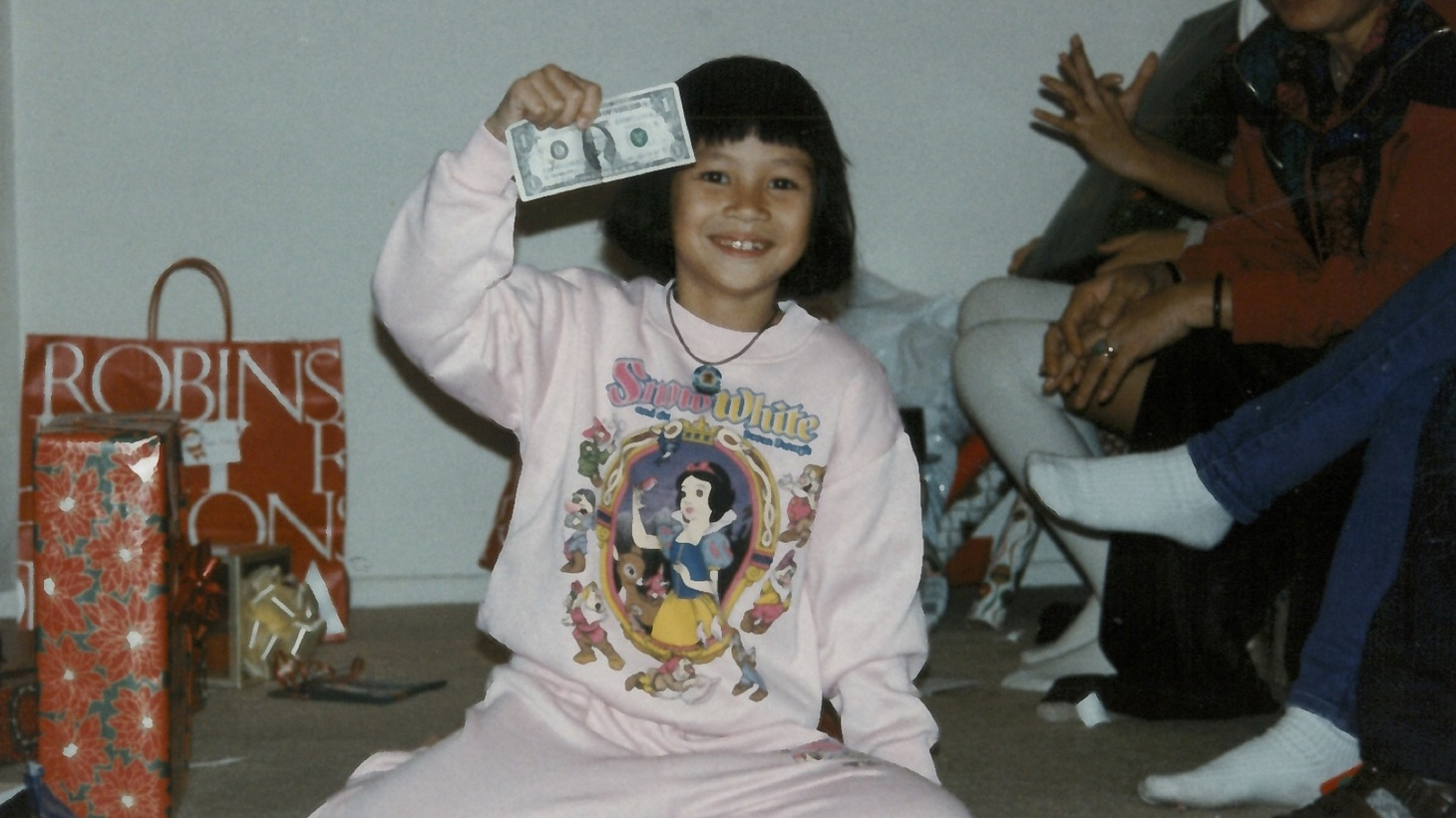 Press Play producer Amy Ta during a Christmas celebration in the 1990s.