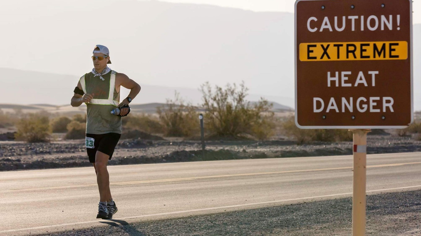 """The """"Badwater 135"""" ultra-marathon begins Monday night at the lowest point in the Western Hemisphere -- Badwater Basin in Death Valley, some 280 feet below sea level. Then it's 135 miles through tough terrain -- over two mountain ranges --- before the race ends about halfway up Mount Whitney, at 8,500 feet. It'll also be about 110 degrees at 8 pm."""