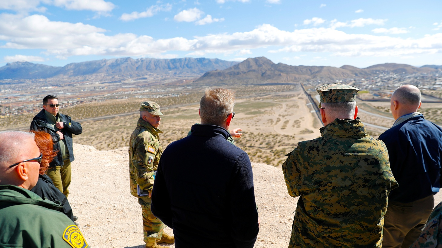 U.S. Acting Secretary of Defense Patrick Shanahan and Joint Chiefs Chairman Gen. Joseph Dunford during a tour of the US-Mexico border at Santa Teresa Station in Sunland Park, N.M., U.S. February 23, 2019.