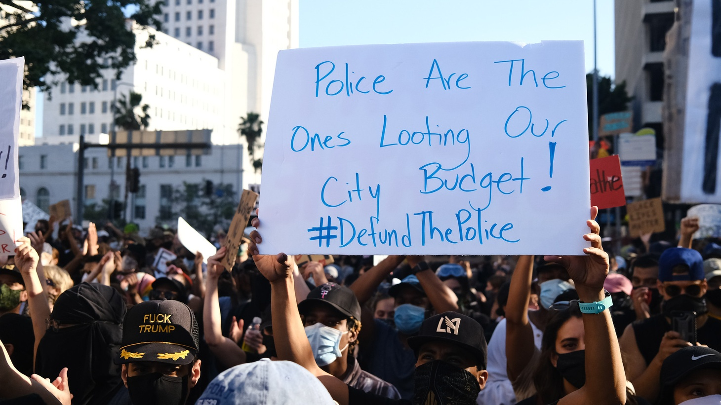 Demonstrators gathered in front of the Los Angeles County Hall of Justice to protest District Attorney Jackie Lacey. About 10,000 people protested police violence, the proposed LA city budget of 54% to the LAPD, and the death of George Floyd.