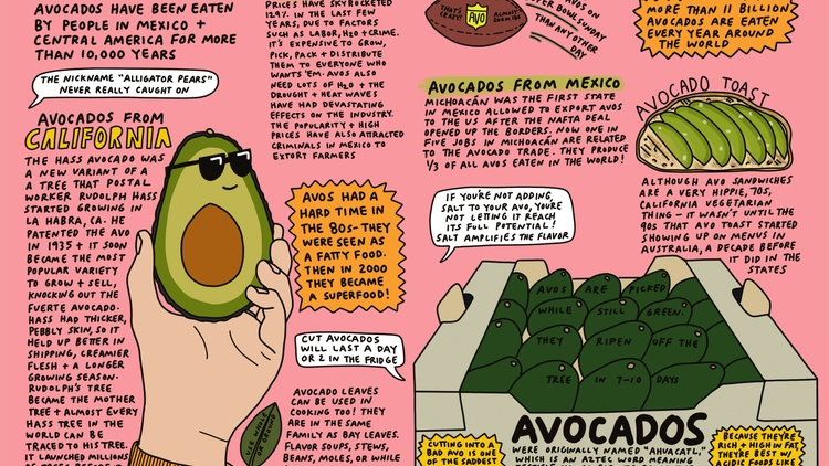LA-based artist Stacy Michelson decided a few years ago to illustrate every episode of Good Food for an entire year. Her food drawings are bright, colorful, and a lot of fun.