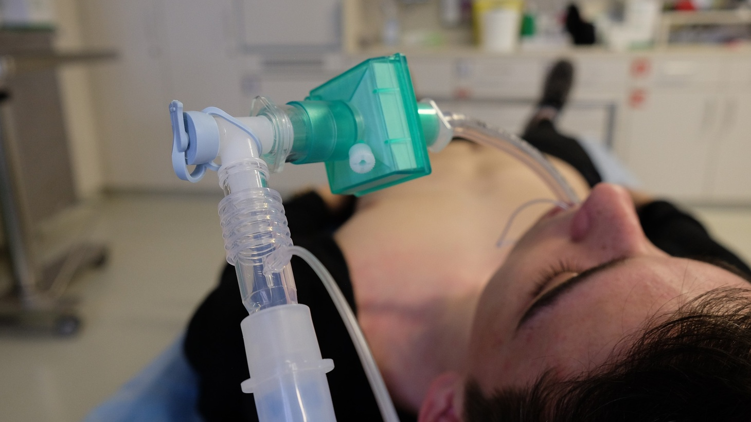 Patient with a ventilator.