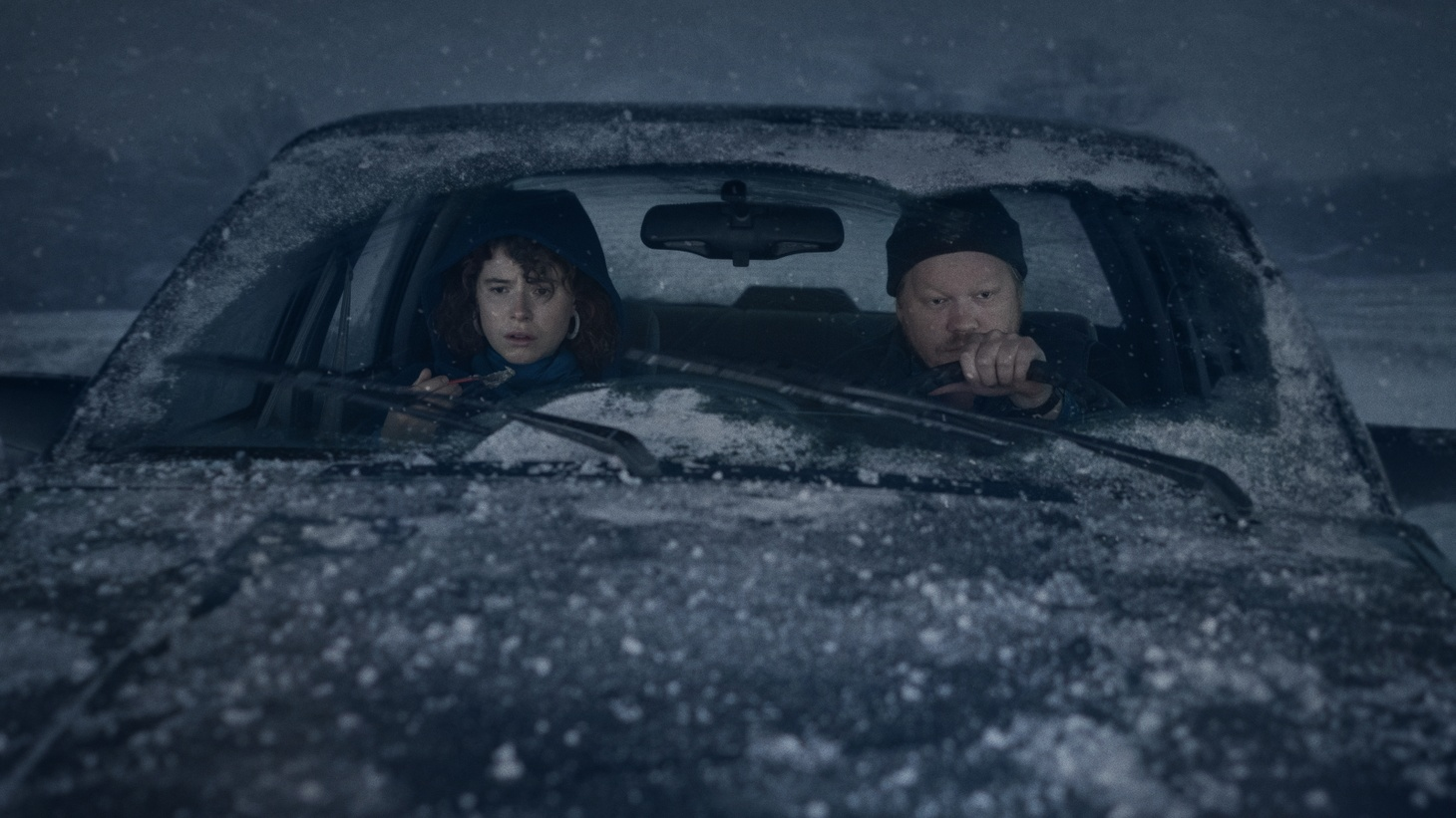 """Jessie Buckley and Jesse Plemons in """"I'm Thinking Of Ending Things."""""""