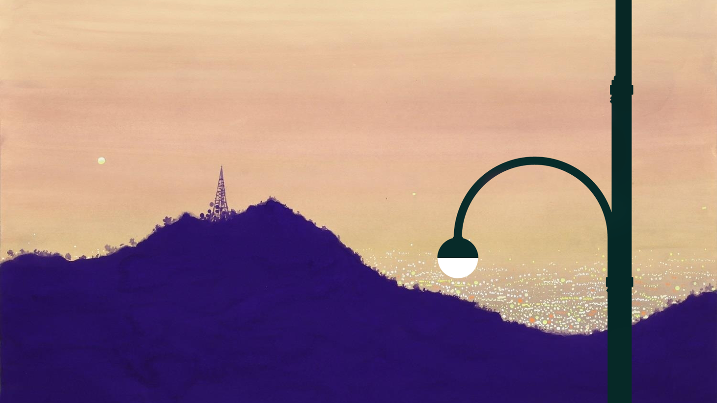 """Superbloom, the winning design for the """"LA Lights the Way"""" competition, casts its light over Los Angeles in this rendering."""