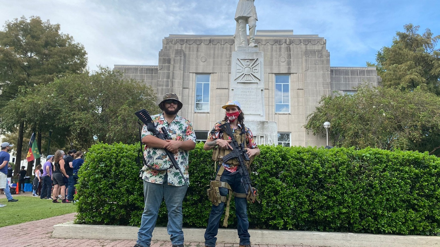 Members of the Boogaloo Boys, a group that says it defends the rights of individuals against the government, showed up Saturday to provide protection for protesters by the statue of Confederate Gen. Alfred Mouton in downtown Lafayette.