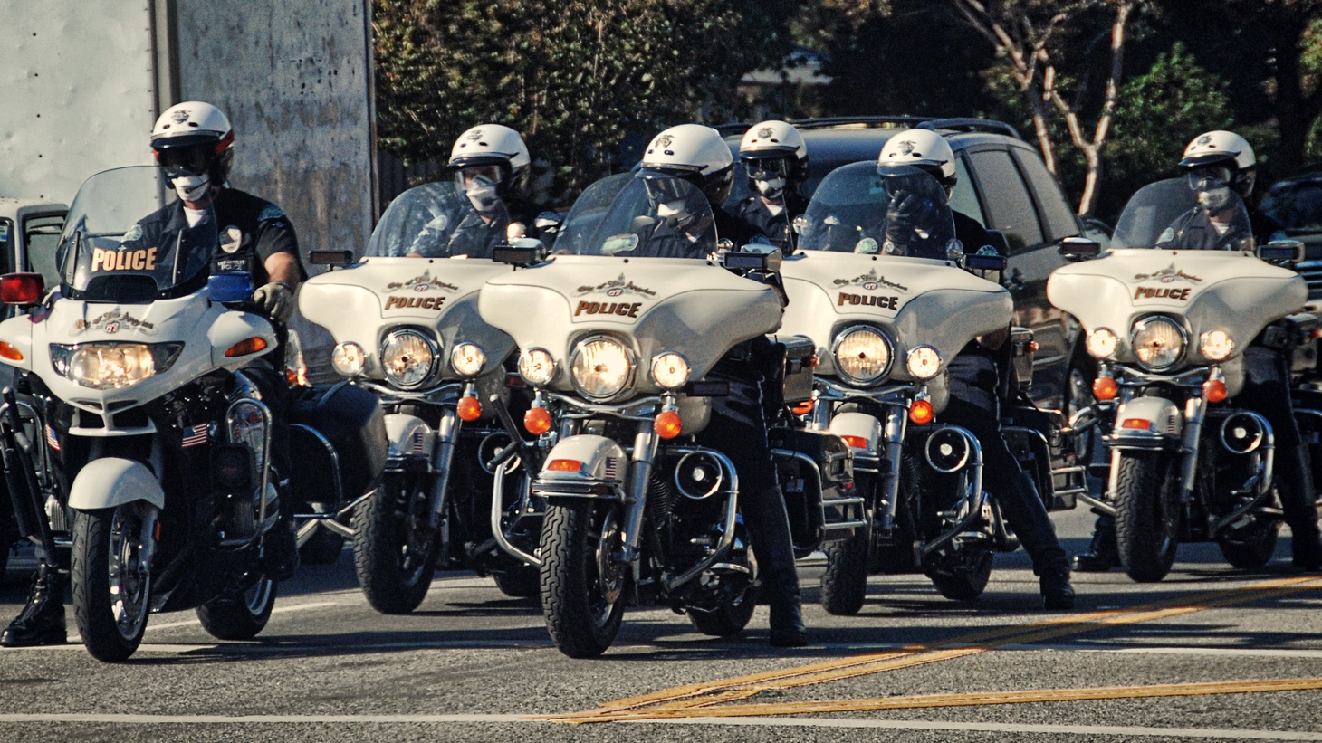 LAPD on motorcycles.
