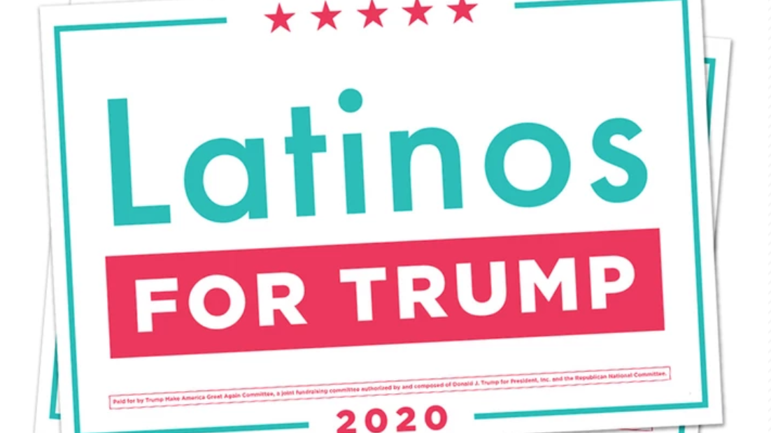 Latinos for Trump rally sign.